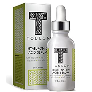 Organic Hyaluronic Acid Serum for Face with Natural Peptides, Pure Jojoba Oil, Vitamin E & Witch Hazel; Best to Build Collagen & Reduce Wrinkles & Age Spots; Free Gift/No Risk