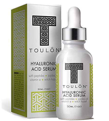 Organic Hyaluronic Acid Serum for Face with Natural Peptides, Pure Jojoba Oil, Vitamin E & Witch Hazel; Best to Build Collagen & Reduce Wrinkles & Age Spots; Free Gift/No Risk Jojoba Oil Vitamin E