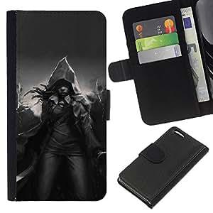 EJOY---La carpeta del tirón la caja de cuero de alta calidad de la PU Caso protector / Apple Iphone 5C / --Magia Capucha Negro Blanco Místico