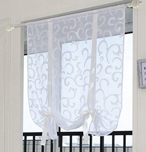 ZebraSmile Adorable Bowknot Tie Up Roman Curtain Lifable Curtain Rod Pocket Balloon Curtain Semi Sheer Kitchen Balloon Window Curtain, 24 x 54 Inch, White (Semi Sheer Tie Up Shade)