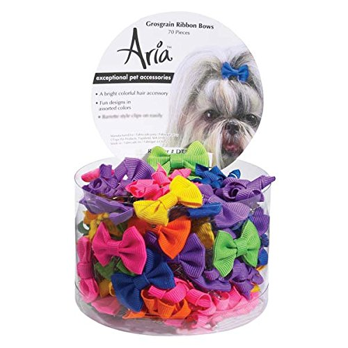Aria Cotton Grosgrain Ribbon Dog Bows Canister, 70-Pack, colors Vary