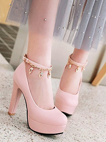 Aisun Womens Rhinestone Low Cut Round Toe Dressy Buckled Chunky High Heel Platform Pumps Shoes With Ankle Strap Pink ES1F40Wx4g