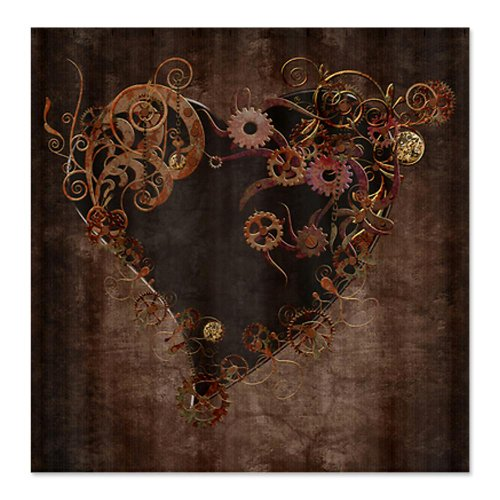 CafePress Steampunk Heart Shower Curtain - Standard White