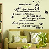 Wall Décor Stickers Family Rules Stickers Wall Art Decal Removable Art Vinyl Decor Home Kids Letter