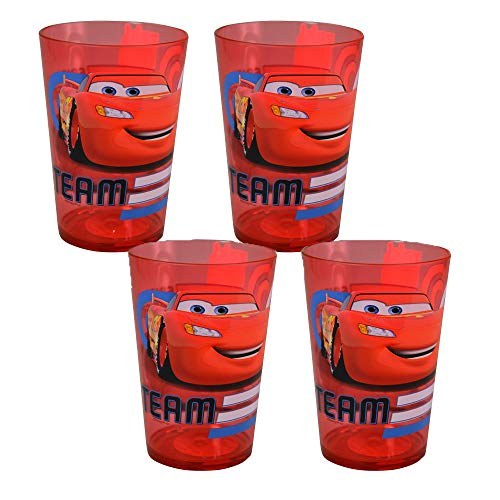 [4-Pack] Disney-Pixar Cars Lightning McQueen Drink Cup Tumblers, 14.5-Ounce, Red