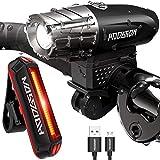 HODGSON 自転車 ライト、USB 充電式 自転車 ヘッドライト、テールライト、 400ルーメン、高輝度 4点灯モード懐中電灯