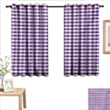 Checkered Tablecloth Thermal Insulating Blackout Curtain Purple and White Colored Gingham Checks Rows Picnic Theme Vintage Style Print 55'x 45',Suitable for Bedroom Living Room Study, etc.