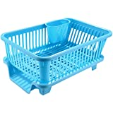 Dorfin 3-piece Sink Set Dish Rack Drainer Plastic Dish Rack with Drain Board and Utensil Cup (Blue)