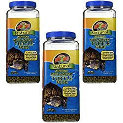 (3 Pack) Zoo Med Natural Sinking Mud And Musk Turtle Food - 20oz
