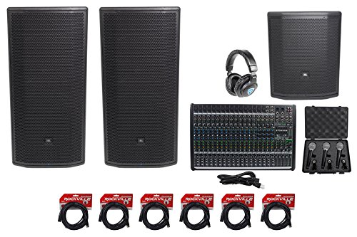 "Amp Jbl Sub (2 JBL Pro PRX835XW 15"" 3-Way 1500w Speakers+15"