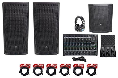 """Amp Sub Jbl (2 JBL Pro PRX835XW 15"""" 3-Way 1500w Speakers+15"""