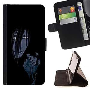 BullDog Case - FOR/HTC Desire 820 / - / Evil Anime Girl /- Monedero de cuero de la PU Llevar cubierta de la caja con el ID Credit Card Slots Flip funda de cuer