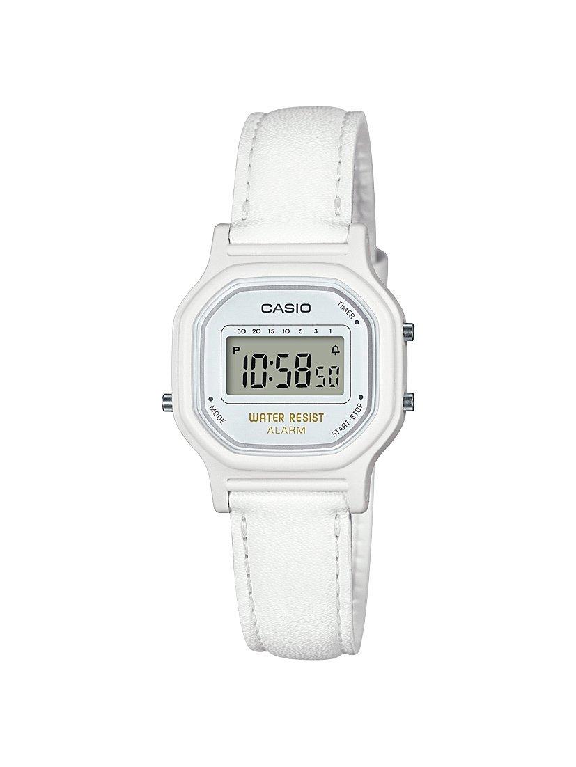 Casio Women's Classic Quartz Watch with Leather-Synthetic Strap, White, 14.8 (Model: LA-11WL-7ACF)
