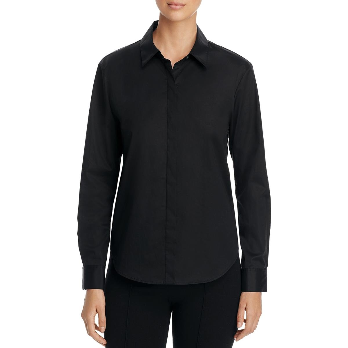DKNY Womens Long Sleeve Collared Button-Down Top Black S