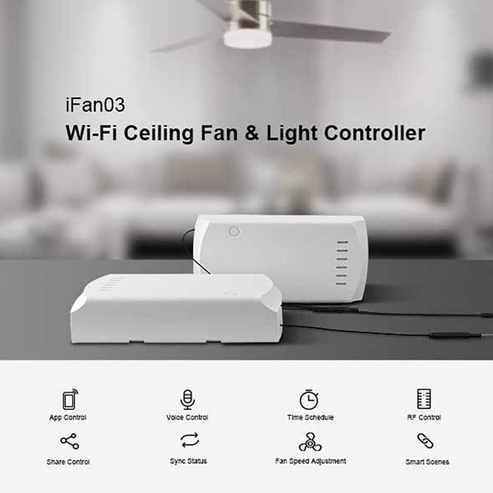 ONEVER LED-WLAN-Deckenventilator und Lichtsteuerung unterst/ützen eine 433-MHz-RF-Fernbedienung von App ewelink f/ür SONOFF iFan03