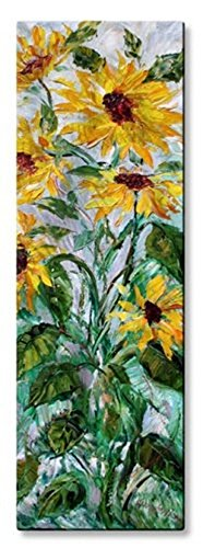 Metal Wall Art Floral Yellow Green 'Sunflowers'