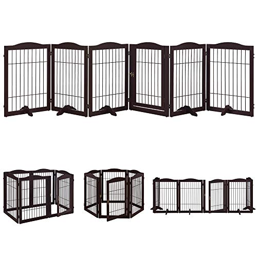 Total Win Pet Playpen with Wire, Extra Wide 6 Panels Freestanding Wooden Dog Gate with Walk Through Door and 5 Support…