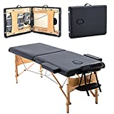 Portable Massage Black Table Folding with Carry Case Chair Bed Spa Facial massager adjustable face cradle and armrest