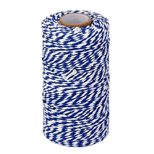 ROSENICE Natural Cotton Twine String Bakers Twine 100M (Navy Blue White) (Cotton Twine White Bakers)