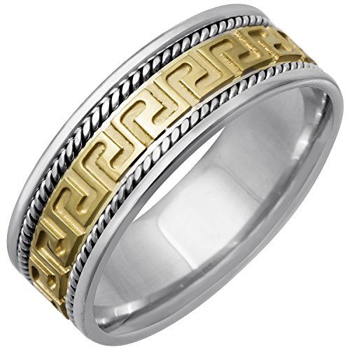 14K Two Tone (White and Yellow) Gold Designer Greek Key Men's Comfort Fit Wedding Band (8mm) Size-9c1