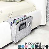 Bedside Caddy | New Design | Large Size 9.4' x 13.4' inch (Gray) | Laptop Holder | 100% HANDMADE | Dorm College Room, Bunk Bed, Hospital Bed, Kids Baby Bed | Hanging Storage Organizer | Remote Holder