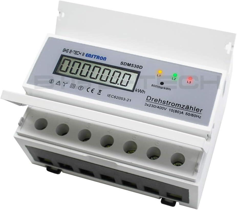 A 80 Wattmeter digitaler Stromzähler mit Lastanzeige S0 Hutschiene 400V 3x20