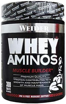 Weider Whey Aminos. Aminoácidos de suero de leche. Post-entreno (300 tabletas - 60 porciones) Potente protector muscular