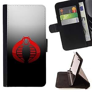 - Red Cobra - - Prima caja de la PU billetera de cuero con ranuras para tarjetas, efectivo desmontable correa para l Funny HouseFOR Samsung Galaxy S5 V SM-G900