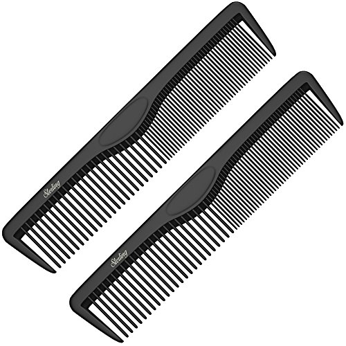 Pocket Combs (2 Pack) - Professional 5 Inch Black Carbon Fiber Anti Static Chemical and Heat Resistant Comb For All Hair - Professional Black Comb