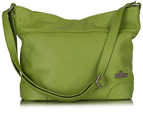 JANE Shoulder Medium Size Hobo Italian Green LIATALIA Leather Womens Handbag Genuine Lime w0xzxqB6