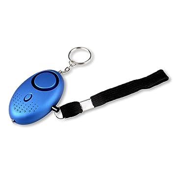 schramm Funda Alarma Color Azul Claro pánico Alarma Autoprotección 130dB Llavero Linterna Bolsillos Alarma antipánico Autodefensa