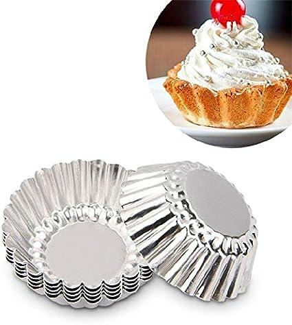 Keysui 6pcs Egg Tart Aluminum Cupcake Cake Cookie Mold Lined Mould Baking Tool