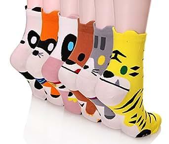 Dosoni Girl Cartoon Animal Cute Casual Cotton Novelty Crew socks 6 packs-Gift Idea (Colorful Animal)