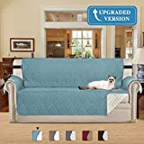 New and Improved Anti-Slip Grip Furniture Protector with Stay Put Straps Microfiber Fabric Features to Prevent Stains/Protect from Pets, Spills, Wear and Tear (Sofa, Stone Blue, 75 x 110 inch)