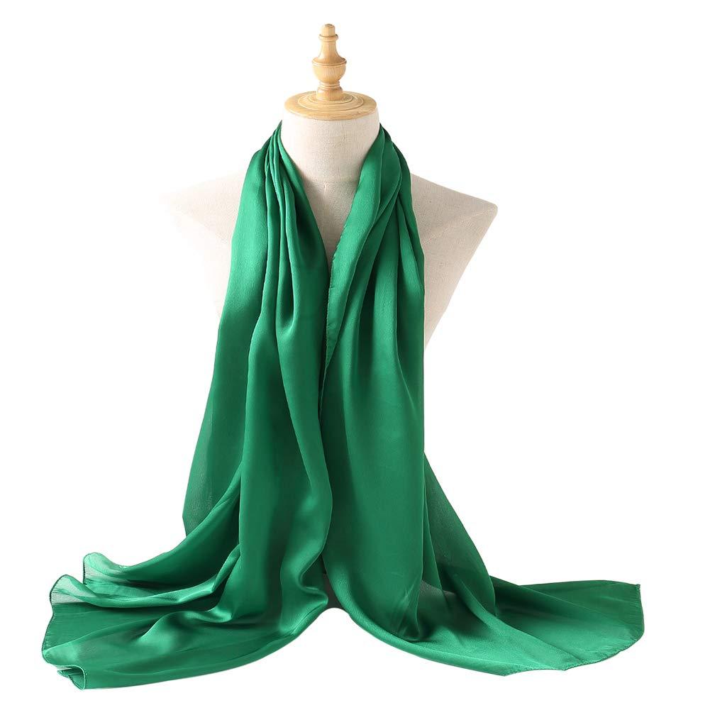 Bellonesc Silk Scarf 100% silk Long Lightweight Sunscreen Shawls for Women (fresh green)