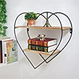 YD Shelf Wall Shelf Metal Iron Wood LOFT Wall Hanging Cube Shelf Bedroom Bookshelf Storage Rack Floating Unit Frame As Wall Decoration Design Vintage Industrial Style 2 Tiers @