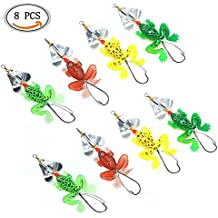 IDS 8pcs Frog Fishing Lures Soft Bass Spinner Bait Weedless Hook, Frog Lure Kit for Bass Snakehead, Freshwater Saltwater Soft Baits