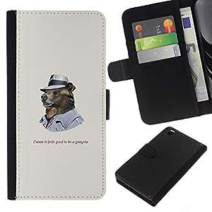 KLONGSHOP // Tirón de la caja Cartera de cuero con ranuras para tarjetas - Funncy oso grizzly en Hat gangsters - HTC DESIRE 816 //