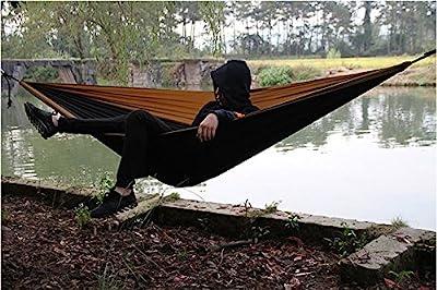 Double Camping Hammock, Fvolcano Premium Outdoor Hammock Ultralight Parachute Nylon w/ Solid Steel Carabiners, Nautical-Grade Rope for Backpacking, Beach, Backyard, Travel, Adventures