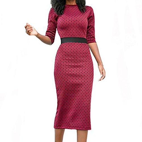 Clearance ! Women Dress, ღ Ninasill ღ High Waist Patchwork Geometric Print Split Party Evening Prom Swing Dress (XS, Hot Pink)