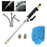 Lesgos Hydro Jet High Pressure Power Washer Car Washer Water Jet Wand Water Gun Aluminum Alloy,2 High Pressure Nozzle Heads Garden Watering Sprayer for Car Wash,Window Washing and Garden Watering