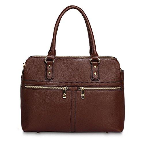 Xardi London Eva funda de piel sintética tamaño mediano Ladies bolso trabajo día agarre bolsas mujeres hombro bolsos Coffee Style 2
