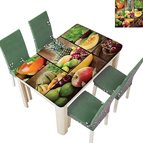 (Polyester Salad Themed Watermelon Pineapple Apple Cherries Juice Collage Art Print Spillproof Fabric Tablecloth 54 x 72 Inch (Elastic Edge))