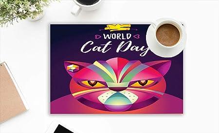 Gato Cartel Mundo Animales Vacaciones manteles Lavables para Mesa de Comedor Doble Tela impresión algodón manteles para Cocina Mesa Juego de 4 Mantel 12