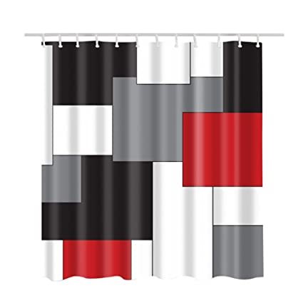 Custom Shower Curtains Print WhiteGreyLight Black And Orange RedIrregular Geometric