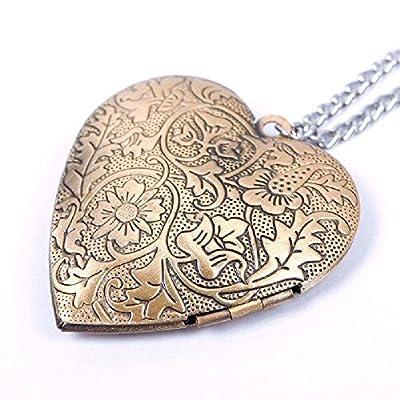 Bronze Heart Friend Photo Picture Frame Locket Pendant Chain Necklace