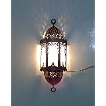 B130 Moroccan / Islamic Brass Sconce With Frosted Glass Wall Decor