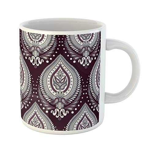 (Semtomn Funny Coffee Mug Colorful Asian Paisley Red Batik Bright Chinese Endless Ethnic 11 Oz Ceramic Coffee Mugs Tea Cup Best Gift Or)