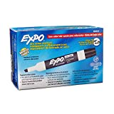 Expo 80001 Low Odor Chisel Point Dry Erase Markers, Low Odor Alcohol-Based Ink, Designed for Whiteboards, Glass and Most Non-Porous Surfaces, Black, 12 Units per Box, Pack of 1 Box: more info