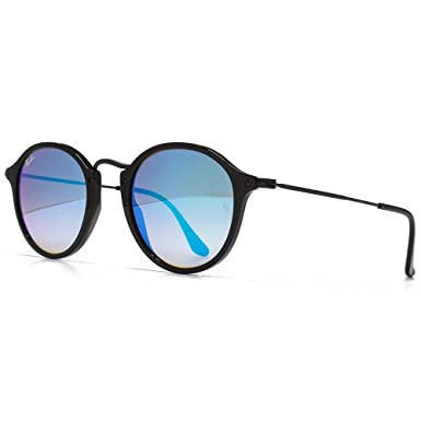 187f9d4f2a Image Unavailable. Image not available for. Colour  Ray-Ban Metal Bridge Round  Sunglasses in Shiny Black Gradient Blue Mirror RB2447 901